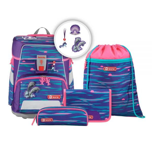 Step by Step Space Schulranzen-Set 5tlg Shiny Dolphins